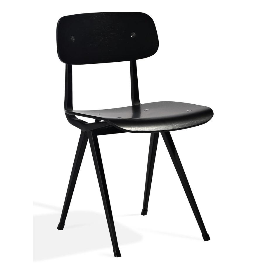 pedrali dining chair plywood oak black veneer seatback matt black frame 1jpg